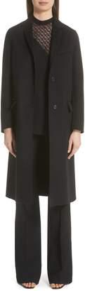 Valentino VLTN Logo Back Wool & Cashmere Coat