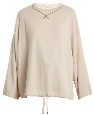 Brunello Cucinelli Bead Embellished Cashmere Sweater - Womens - Ivory