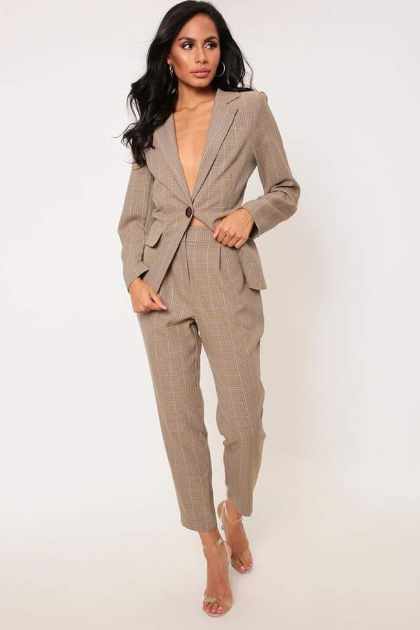 Isawitfirst Brown Dogstooth Checked Cigarette Trousers
