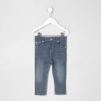 River Island Mini boys mid blue wash skinny denim jeans