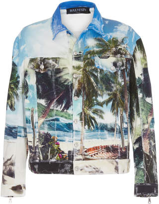 Balmain Oversized Printed Denim Jacket