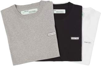 Off-White Off White Set Of 3 Slim Fit Cotton Jersey T-Shirt