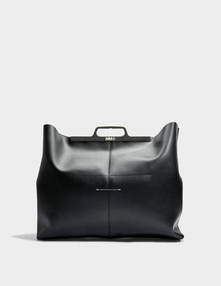 MM6 MAISON MARGIELA Hand Carry Bag in Black Calf Leather with Foil