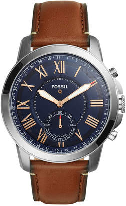 Fossil Q Men's Grant Saddle Brown Leather Strap Hybrid Smart Watch 44mm FTW1122