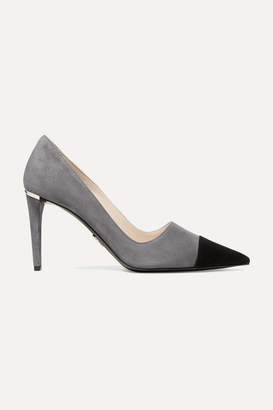 Prada Two-tone Suede Pumps - Anthracite