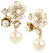 Miriam Haskell Vintage Pearl Floral Crystal and Faux Pearl Drop Earrings