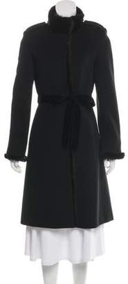 Andrew Marc Mink-Trimmed Virgin Wool Coat