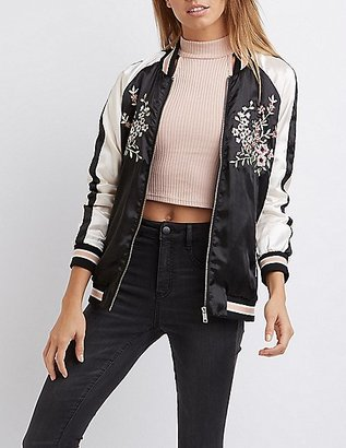Satin Embroidered Bomber Jacket $38.99 thestylecure.com