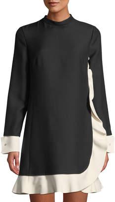 Valentino Mock-Neck Contrast-Trim Ruffle Dress
