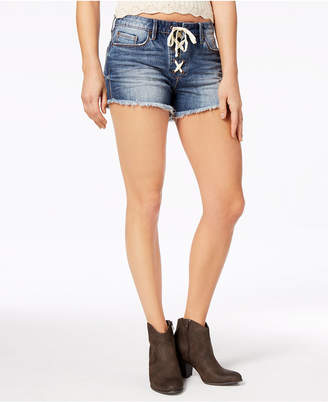 American Rag Juniors' Lace-Up Denim Shorts, Created for Macy's