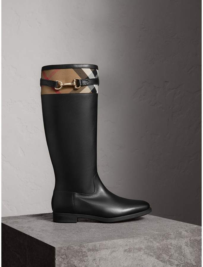 Burberry House Check Detail Riding Boots