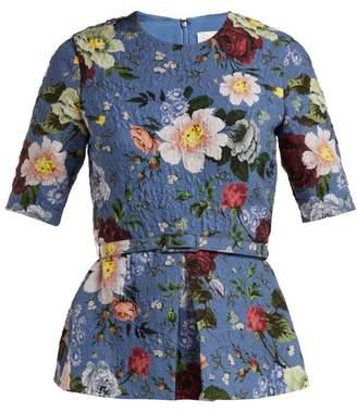 Erdem Catia Gertrude Print Floral Top - Womens - Blue Multi