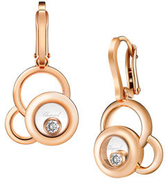 Chopard Chopard Happy Diamonds 18k Rose Gold Superimposed Circle Drop Earrings