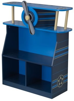 Kid Kraft Wooden Airplane Bookcase with Three Shelves and Spinning Propeller - Blue