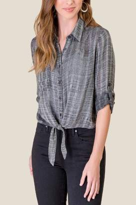 francesca's Ariana Button Down Tie Front Top - Heather Gray