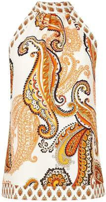Dorothy Perkins Womens Ivory Paisley Printed Halter Neck Top