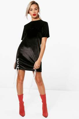 boohoo Lace Up Embossed Slogan T-Shirt Dress