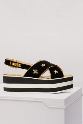 Gucci Velvet wedge sandals