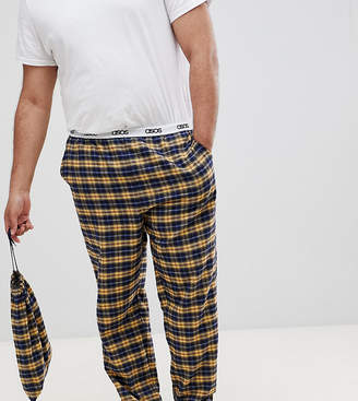 3a008be936 Asos Design DESIGN PLUS woven straight pyjama bottoms in mustard   navy  brushed check