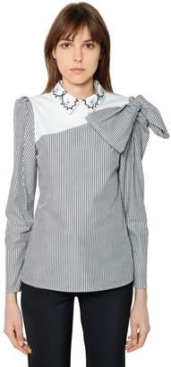 Striped Cotton Poplin Shirt W/ Bow