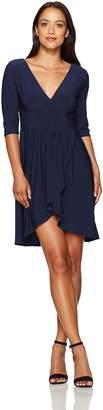 Star Vixen Women's Petite Elbow Sleeve Surplice Tulip Skirt