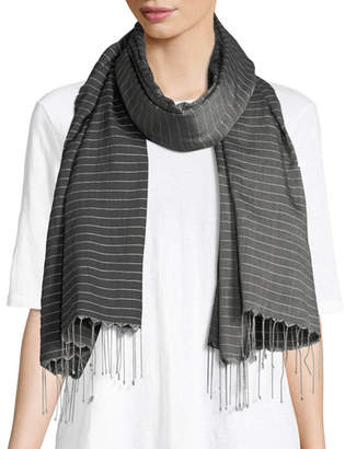 Eileen Fisher Hand-Loomed Pinstriped Scarf