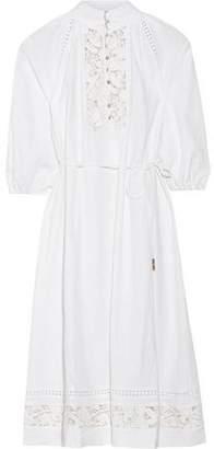 Zimmermann Alchemy Guipure Lace-Paneled Linen-Blend Dress