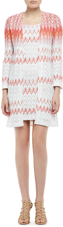 Missoni Knit Cardigan & Dress Set, Coral/White
