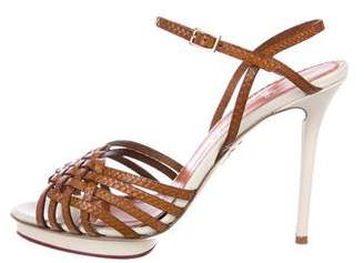 Charlotte Olympia Leather Ankle Strap Sandals