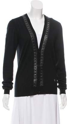 Versace Faux Leather Trim Wool Cardigan