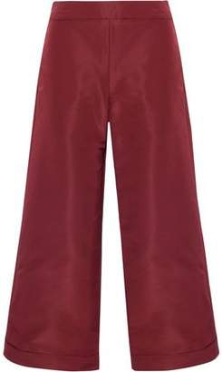 Oscar de la Renta Cropped Silk-Faille Wide-Leg Pants