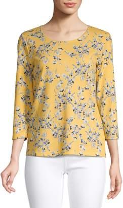 Karen Scott Three-Quarter-Sleeve Floral-Print Top