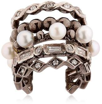 Colette Jewelry Entwined Diamond Black Gold Ear Cuff