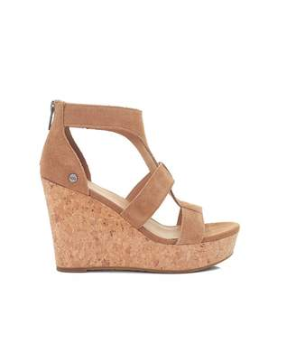 9d3f97b05c7e UGG Whitney Cork Wedge Suede Sandals Colour  CHESTNUT