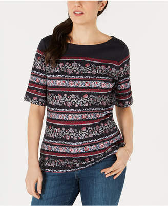 Karen Scott Printed Boat-Neck T-Shirt