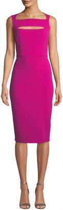 Neiman Marcus Cutout Square-Neck Crepe A-Line Dress