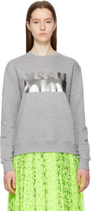 MSGM Grey Stamped Logo Sweatshirt