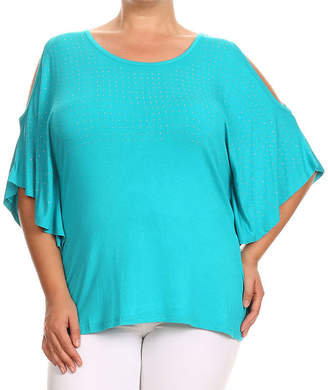 KAILY K. Kaily K. Short Sleeve Cold Shoulder Pullover - Plus