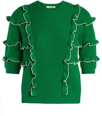 Valentino Ruffle Trimmed Ribbed Knit Cotton Sweater - Womens - Green White