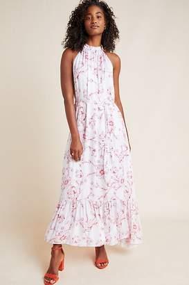 70781462aacb ML Monique Lhuillier Ruffled Floral-Print Halterneck Maxi Dress