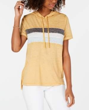 Hippie Rose Juniors' Colorblock Stripe Short-Sleeved Hoodie