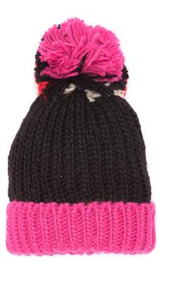 David & Young Pompom Colorblock Knit Beanie