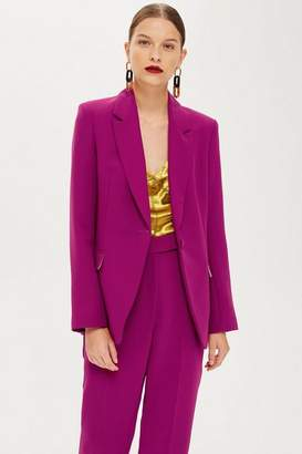 Topshop Womens Magenta Suit Jacket