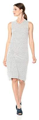 Monrow Women's Supersoft Pinstripe Dress with Elastic Detail