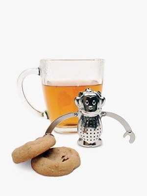 Kikkerland Monkey Stainless Steel Tea Infuser and Drip Tray