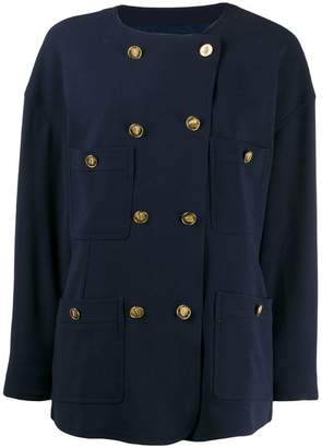 Chanel PRE-OWNED 1980s double-breasted collarless jacket