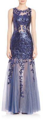 Jovani Lace Illusion Mermaid Dress $510 thestylecure.com