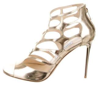 Jimmy Choo Leather Cut-Out Sandals Gold Leather Cut-Out Sandals