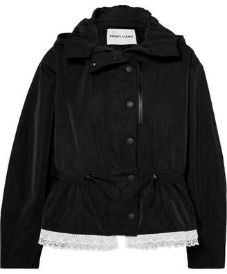 Sandy Liang Cosmo Lace-trimmed Canvas Parka - Black