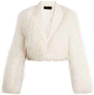 Haider Ackermann Cale Leather Trimmed Shearling Jacket - Womens - White